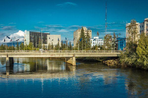 The Chena River in downtown Fairbanks. (Joseph Sohm/Dreamstime/Tribune News Service, 2019)