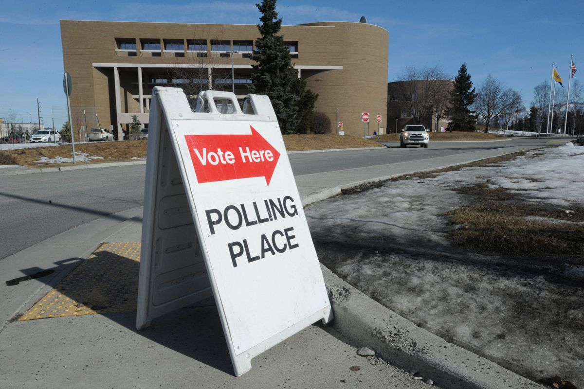 The Z.J. Loussac Public Library is one of seven Accessible Vote Centers where voters can return a ballot, replace a lost or damaged ballot, receive a ballot package if they didn't receive one in the mail, vote a questioned or provisional ballot, register to vote, or receive voting assistance. Tuesday, March 26, 2019. (Bill Roth / ADN)