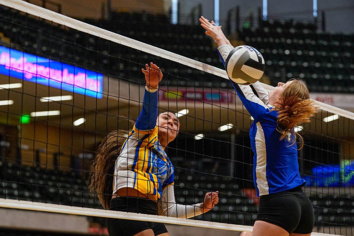 Bartlett's Sierra Fainuulelei spikes the ball Thursday during a state tournament volleyball match against Palmer at the Alaska Airlines Center. (Loren Holmes / ADN)
