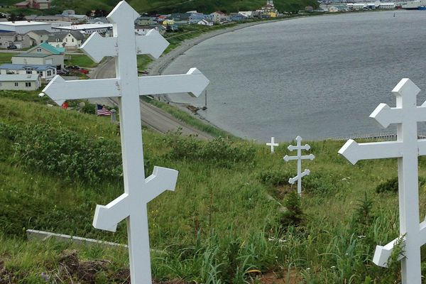 Crosses on a hill in Unalaska, August 2017. (Heather Lende)