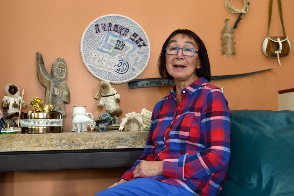 A drum made by one of Jenny Alowa's former McLaughlin Youth Center students is displayed at her west Anchorage home. Alowa taught at McLaughlin for 25 years. (Erik Hill / Alaska Dispatch News)