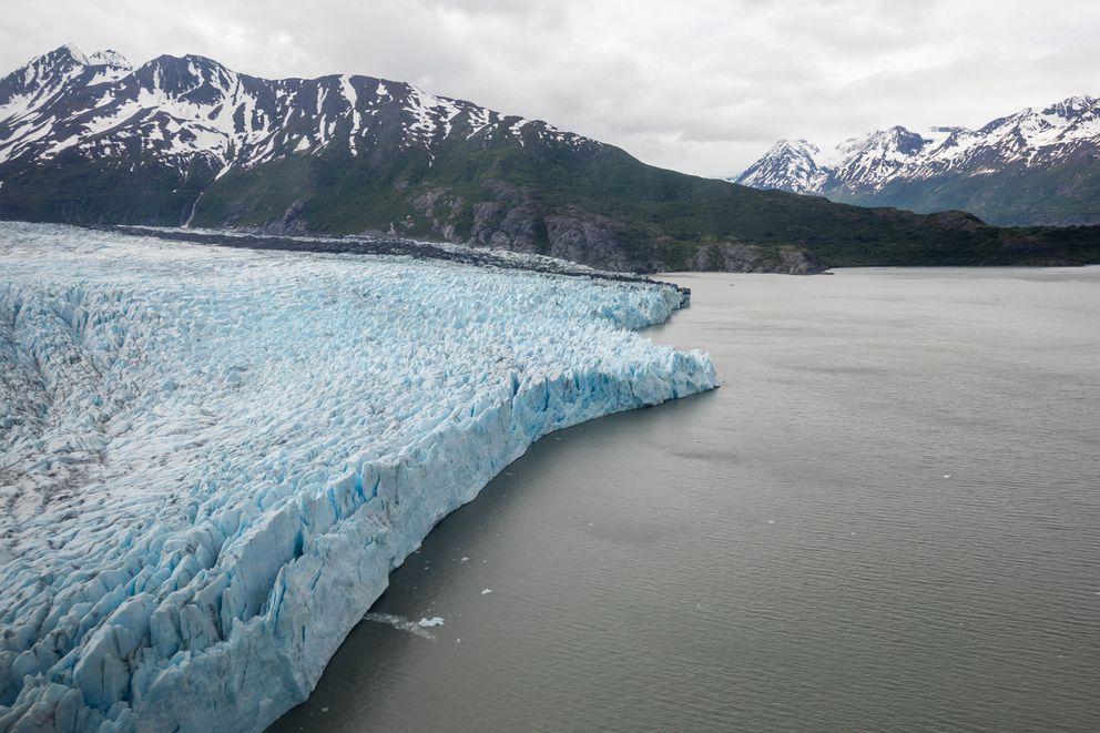 Colony Glacier, seen through the window of an Alaska Army National Guard UH-60 Black Hawk on Saturday. (Loren Holmes / ADN)