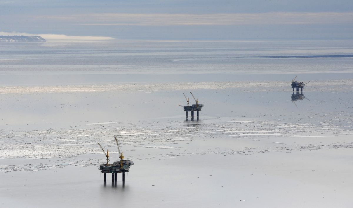 Platforms on west side of Cook Inlet, from left, Bruce, Anna, and Granite Point on April 2, 2017. (Bill Roth / Alaska Dispatch News)
