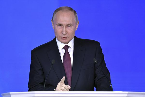 Russian President Vladimir Putin addresses the Federal Assembly, including the State Duma parliamentarians, members of the Federation Council, regional governors and other high-ranking officials, in Moscow, Russia March 1, 2018. Sputnik/Alexei Nikolskyi/Kremlin via REUTERS ATTENTION EDITORS - THIS IMAGE WAS PROVIDED BY A THIRD PARTY.
