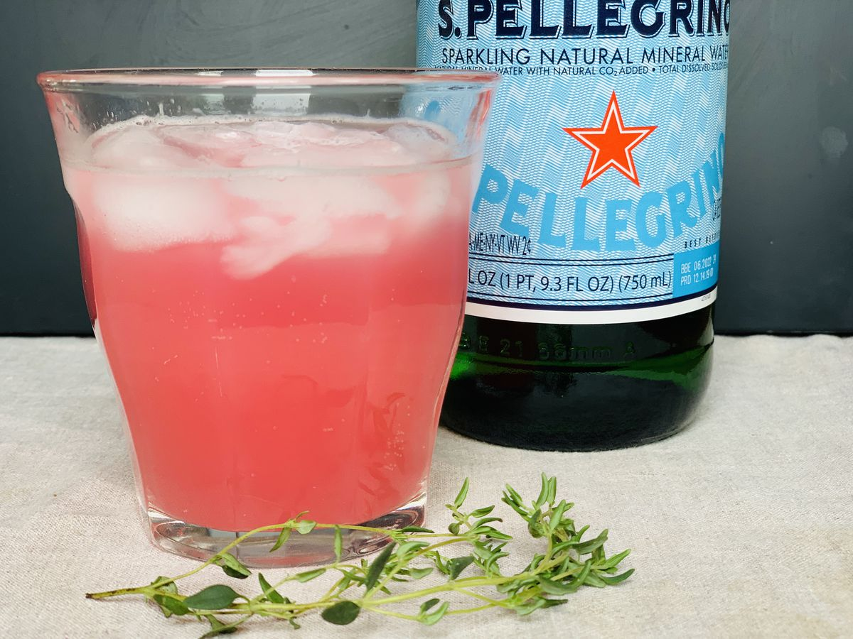 Rhubarb-thyme shrub is perfect for when you're in the mood for a tangy refresher. (Photo by Julia O'Malley)