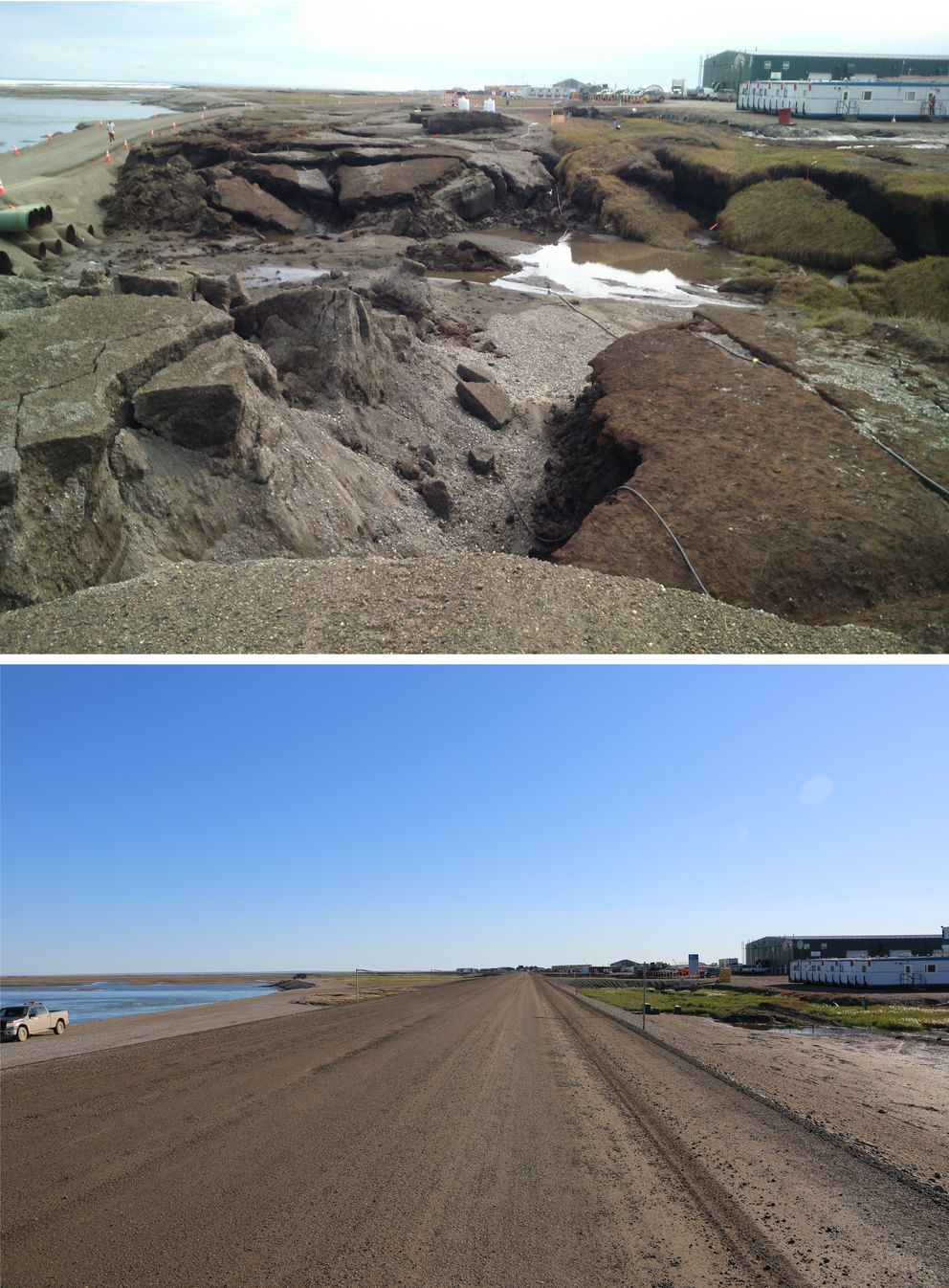 A before and after images of the Dalton Highway, near Deadhorse in 2015. The top image is what the landscape looked like in early June after Sag River floodwaters dropped. The bottom image is shows the highway rebuilt in midsummer 2015. (Photo provided by AK DOT)