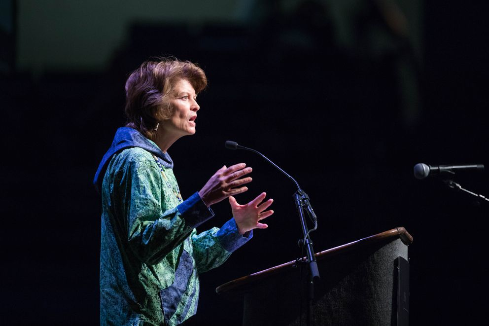 Sen. Lisa Murkowski addresses delegates at the Alaska Federation of Natives convention at the Carlson Center in Fairbanks on Oct. 21. (Loren Holmes / Alaska Dispatch News file)