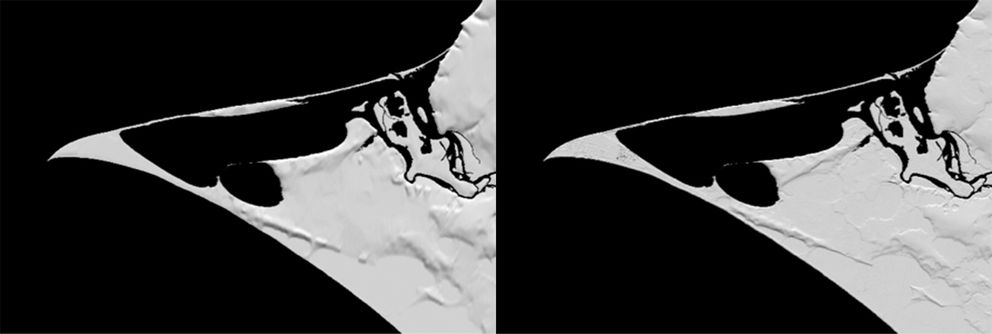 The image on the left shows a map of Point Hope (the sandbar) based on the NED; the image on the right shows the same map based on the new elevation data. Over the next year and a half, improved elevation maps like the one on the right will be available for all Arctic communities. (Image credit: Paul Morin, PGC. From DigitalGlobe imagery.)
