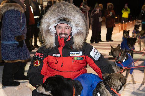 Pete Kaiser wins the 2020 Kuskokwim 300 finish on January 19, 2020 in Bethel, Alaska. This is Kaiser's fifth K300 win. (Katie Basile / KYUK Public Media)