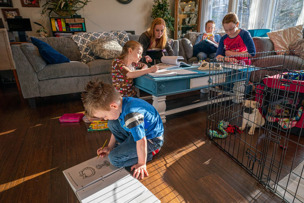 Sharice Bradley leads her children in a homeschool history lesson on Friday, April 23, 2021 in Eagle River. From left, Connor, 5, Elara, 8, Bradley, Eden, 11, Kael, 12, and Titan the pug. (Loren Holmes / ADN)