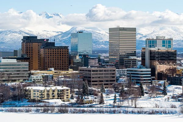 Downtown Anchorage, photographed on Friday, March 26, 2021. (Loren Holmes / ADN)
