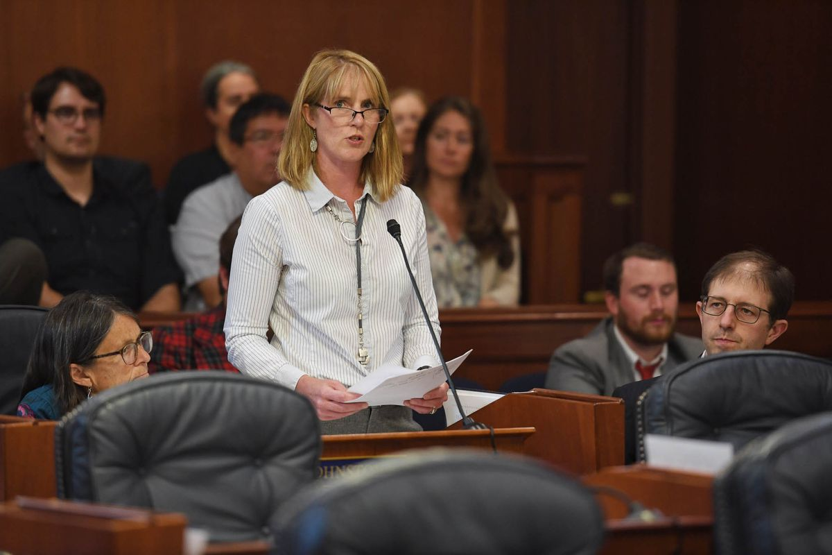 Sen. Natasha Von Imhof, R-Anchorage, speaks in favor of an override vote during a Joint Session of the Alaska Legislature to vote on an override of Gov. Mike Dunleavy's budget vetoes at the Capitol on Wednesday, July 10, 2019. (Michael Penn / Juneau Empire)