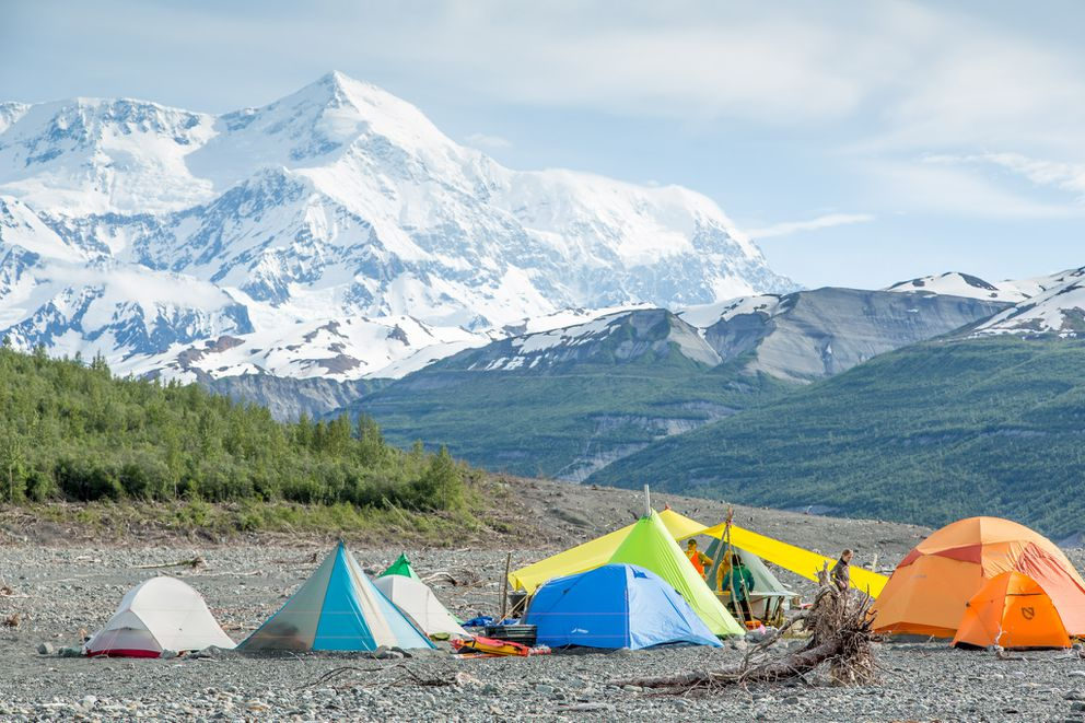 Mount Saint Elias looms above camp. This camp-site was used for each of the three expeditions to study the landslide and tsunami in Taan Fjord in the spring and summer of 2016. (Bjorn Olson / Ground Truth Trekking)