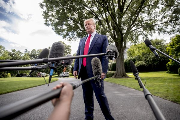 President Donald Trump takes a question from a reporter before boarding Marine One on the South Lawn of the White House in Washington, Tuesday, June 18, 2019, for a short trip to Andrews Air Force Base, Md., and then on to Orlando, Fla. for a rally. (AP Photo/Andrew Harnik)