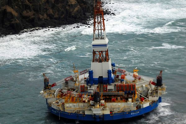 The conical drilling unit Kulluk sits grounded 40 miles southwest of Kodiak City, Thursday, Jan. 3, 2012.