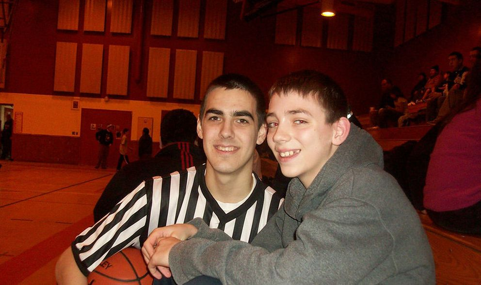 Justinian Jessup, right, and Christian Leckband after a 2010 basketball game at the elementary school in Nome. Leckband was 17 and a high school star in Nome who went on to play for UAA, and Jessup was a talented 12-year-old who on Wednesday was selected by the Golden State Warriors in the second round of the NBA draft. (Photo by Wesley Jessup)