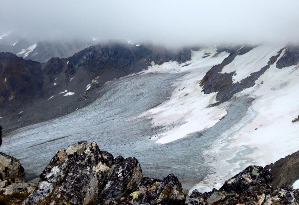 Looking east from a ridgeline above Bomber Glacier on July 11, 2015. (Vicky Ho / Alaska Dispatch News)