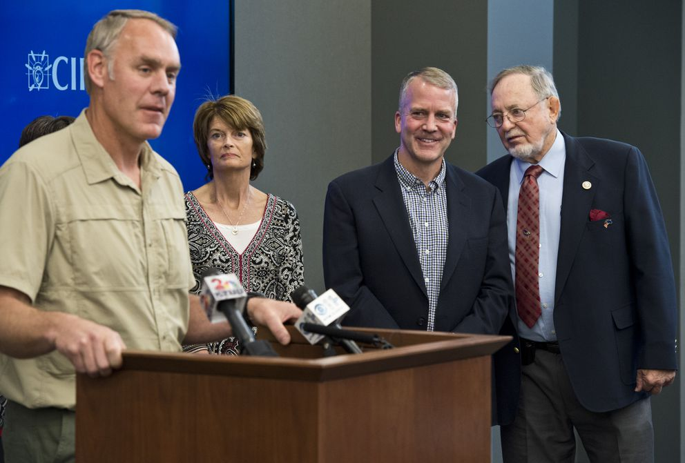 Interior Secretary Ryan Zinke takes questions Tuesday in Anchorage. Sen. Lisa Murkowski, Sen. Dan Sullivan and Rep. Don Young listen at right. (Marc Lester / Alaska Dispatch News)