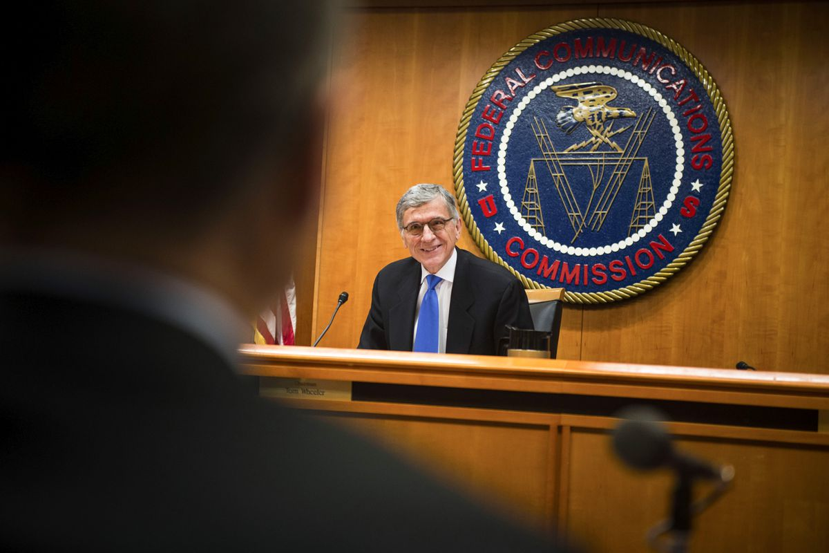 Federal Communications Commission Chairman Tom Wheeler gives a statement before the vote on net neutrality during an FCC meeting in Washington, Feb. 26, 2015. (Gabriella Demczuk / The New York Times archive 2015)