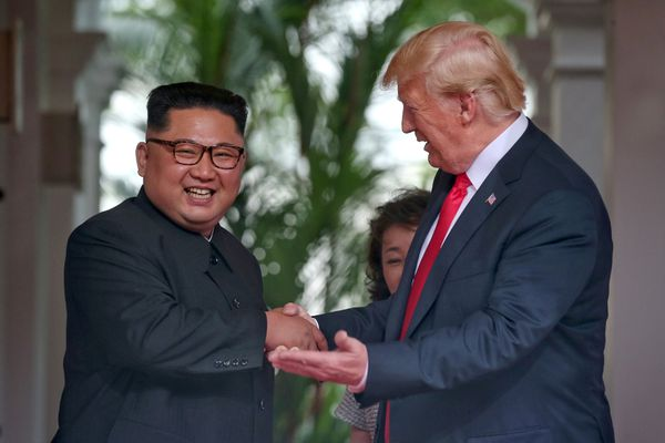 REFILE - ADDING RESTRICTIONS U.S. President Donald Trump meets North Korean leader Kim Jong Un at the Capella Hotel on Sentosa island in Singapore June 12, 2018. Kevin Lim/The Straits Times via REUTERS