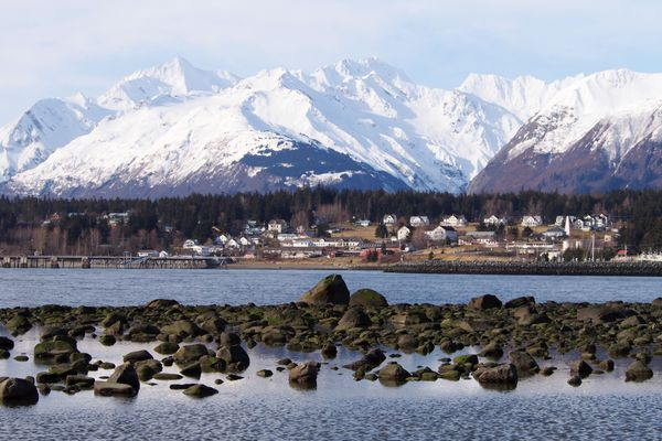 The Chilkat range looms over Haines and Ft. Seward on Thursday, April 23, 2015. (John Hagen / johnhagen.zenfolio.com)