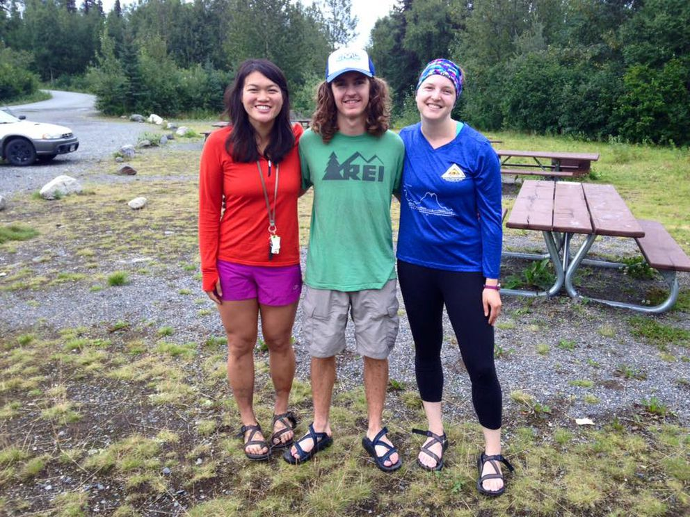 Trying to hide how tired, dirty and defeated we were after completing the Kesugi Ridge hike at Denali State Park. Pictured, from left: Vicky Ho, Nick Parker and Suzanna Caldwell. (Vicky Ho / Alaska Dispatch News)