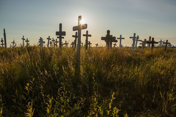 Grave markers on cemetery hill in Kotzebue, Alaska, on Monday, August 31, 2015. President Obama will visit the Northwest Arctic community on Wednesday, the first time a president will set foot in the American Arctic.