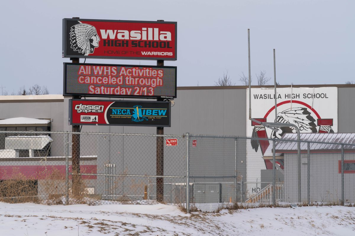 Wasilla High School, photographed on Thursday, Feb. 11, 2021. The school recently relied on an established partnership with local tribal officials to update the logo. (Loren Holmes / ADN)
