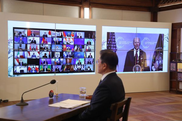 South Korean President Moon Jae-in attends at the virtual Leaders Summit on Climate, at the presidential Blue House in Seoul, South Korea, Thursday, April 22, 2021. (Lee Jin-wook/Yonhap via AP)