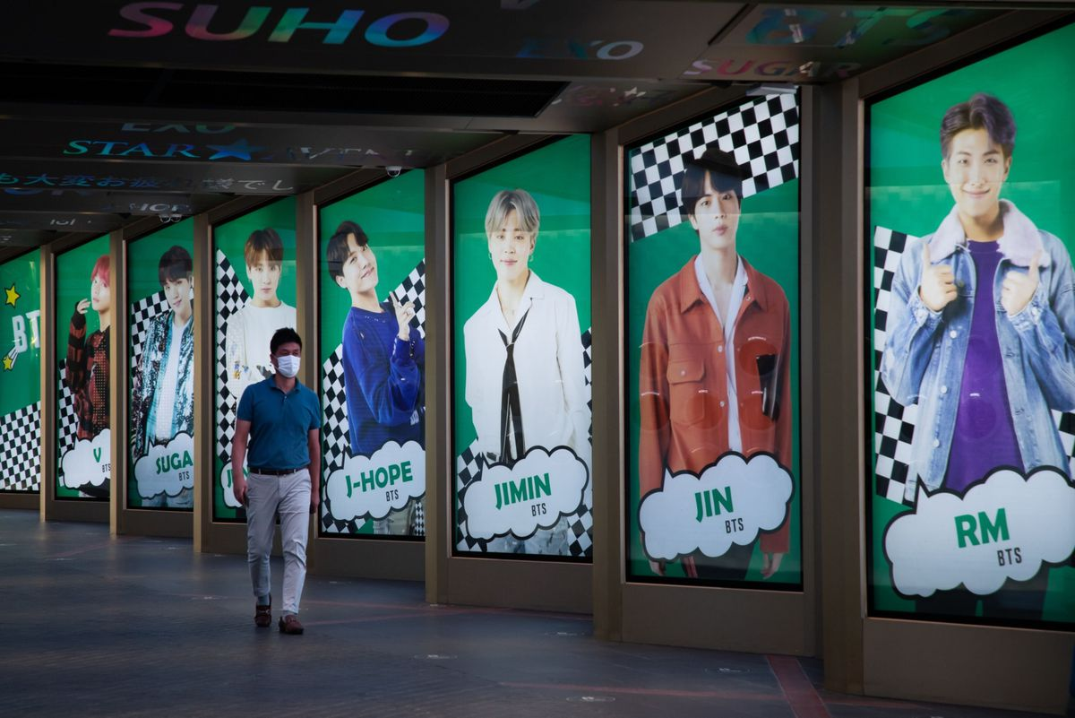 An ad for K-pop boy band BTS displayed in Seoul on Sept. 18, 2020. (Bloomberg photo by SeongJoon Cho)