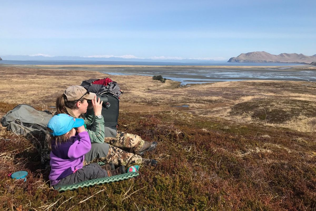 Becca Moffat and her daughter Molly (age 2) glassing last spring. (Photo provided by Becca Moffat)