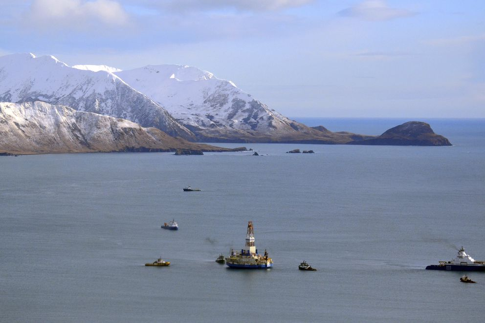 FILE - This Jan. 7, 2013 file photo shows the floating drill rig Kulluk in Kodiak Island, Alaska's Kiliuda Bay as salvage teams conduct an in-depth assessment of its seaworthiness. The first oil and gas production wells in federal Arctic waters have been approved by U.S. regulators. The Bureau of Ocean Energy Management on Wednesday, Oct. 24, 2018, announced it issued a conditional permit for the Liberty Project, a proposal by a subsidiary of Houston-based Hilcorp for production wells on an artificial island in the Beaufort Sea. (James Brooks/Kodiak Daily Mirror via AP, File)