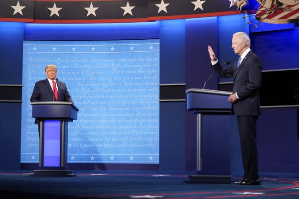 President Donald Trump and Democratic presidential candidate Joe Biden participate in the final presidential debate on the campus of Belmont University on Thursday night in Nashville, Tenn. MUST CREDIT: Washington Post photo by Jabin Botsford