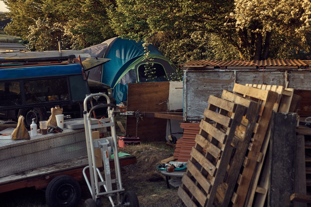 A view of Jeremy Wooldridge's camp as seen on May 16, 2021, in Portland, Ore.. MUST CREDIT: Photo by Mason Trinca for The Washington Post