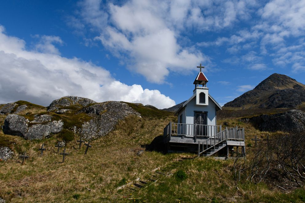 A small chapel overlooks the Alitak cannery from the hillside of it's Kodiak Island location. (Marc Lester / ADN)