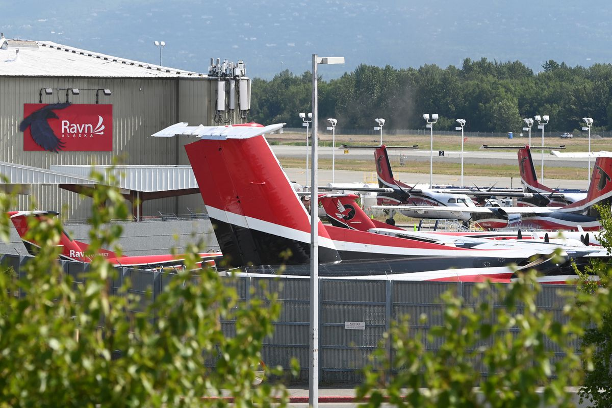 Ravn Alaska aircraft parked at corporate headquarters at Ted Stevens Anchorage International Airport on Tuesday, July 7, 2020. (Bill Roth / ADN)