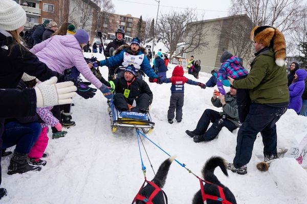 Iditarod rookie Quince Mountain of Mountain, Wisconsin, gives high-fives to spectators near Mulcahy Stadium during the Iditarod Trail Sled Dog Race ceremonial start in Anchorage on Saturday, March 7, 2020. (Loren Holmes / ADN)