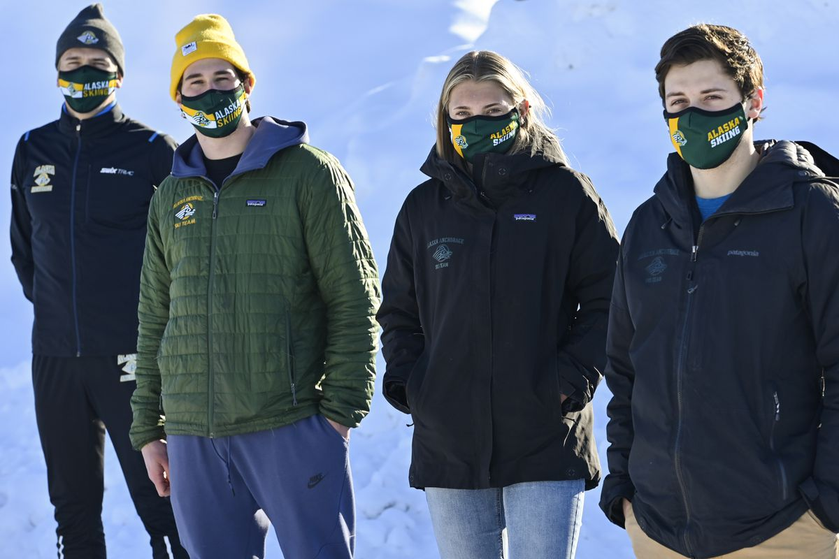 Among the 12 UAA skiers competing in this week's NCAA Championships in New Hampshire are, from left, Sigurd Roenning, Moro Bamber, Astrid Stav and Michael Soetaert. (Marc Lester / ADN)