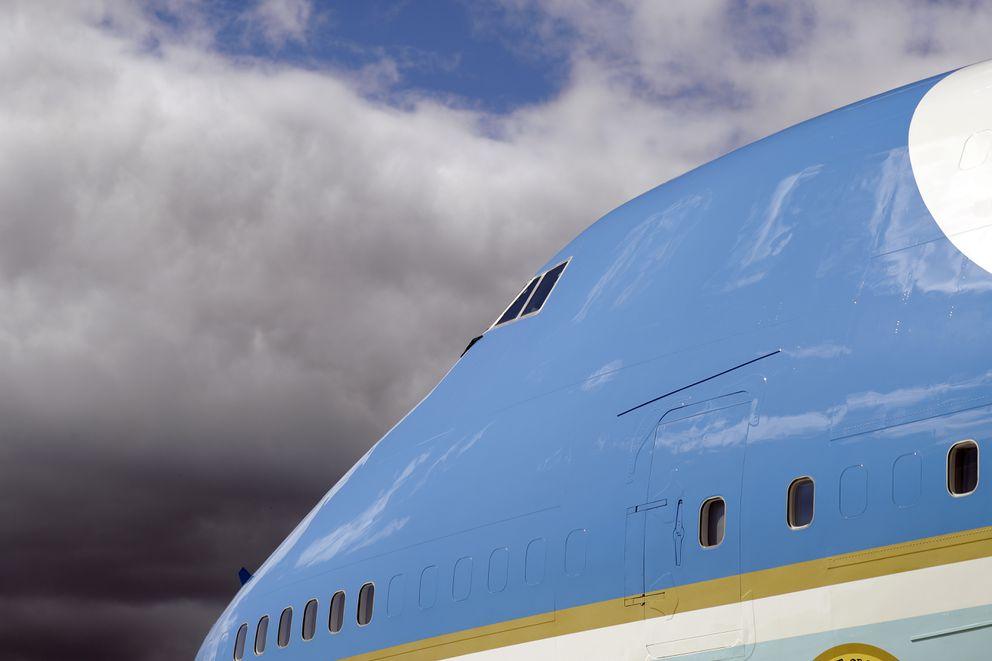 Air Force One arrives with President Donald Trump at Joint Base Elmendorf-Richardson. (AP Photo/Evan Vucci)