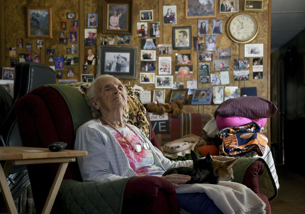 Harriett Noyes sits in her living room at the Phillips Mobile Home Park near Aspen, Colo., on Wednesday, Aug. 28, 2019. Noyes, who owned the 76-acre park, had a chance to sell it to a developer for $30 million but decided she didn't want her family and friends to be evicted. She instead sold it to Pitkin County for $6.5 million with the promise of upgrades and to keep the community affordable. (AP Photo/Thomas Peipert)