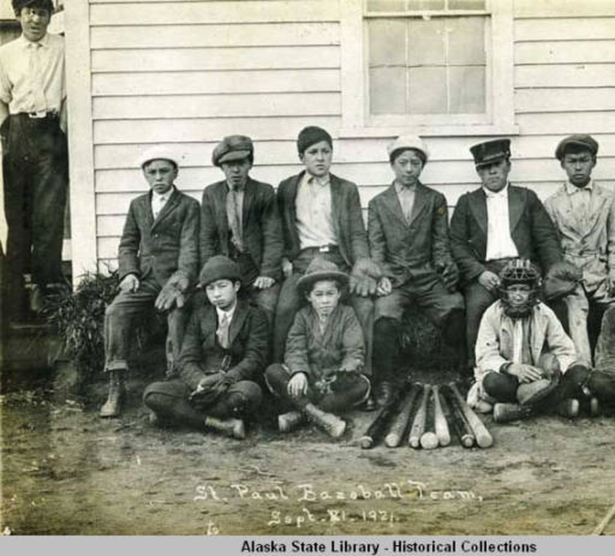 A 1921 photo of the St. Paul baseball team. (Alaska State Library photo)