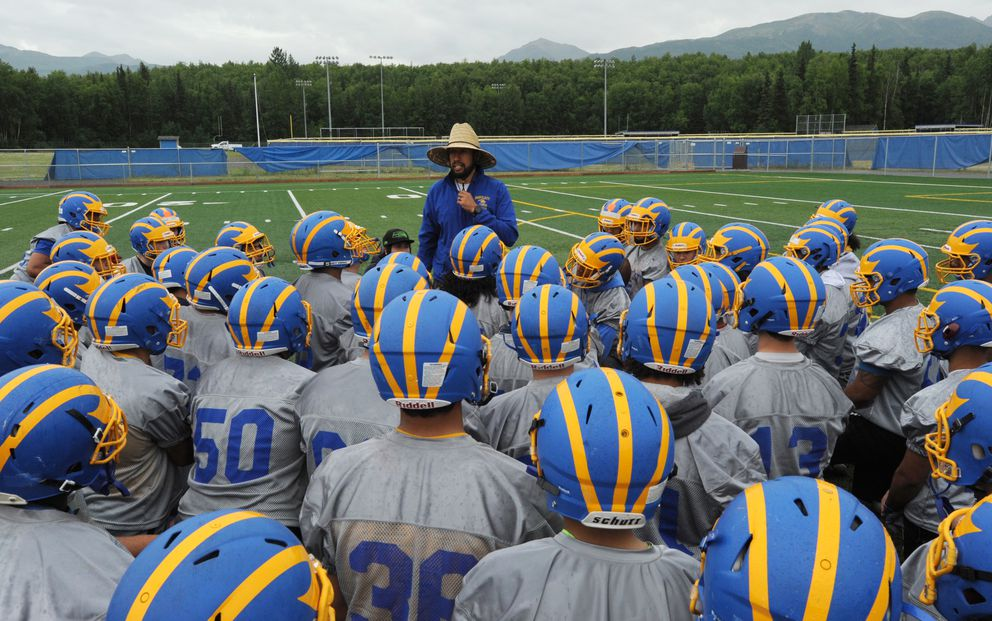 "The Bartlett Golden Bears, shown here with coach Daniel Esparza on the first day of practice, open the season Saturday night in Hawaii, and ""we'll find out quickly how good we are,"" coach John Jessen said.  (Bill Roth / ADN)"