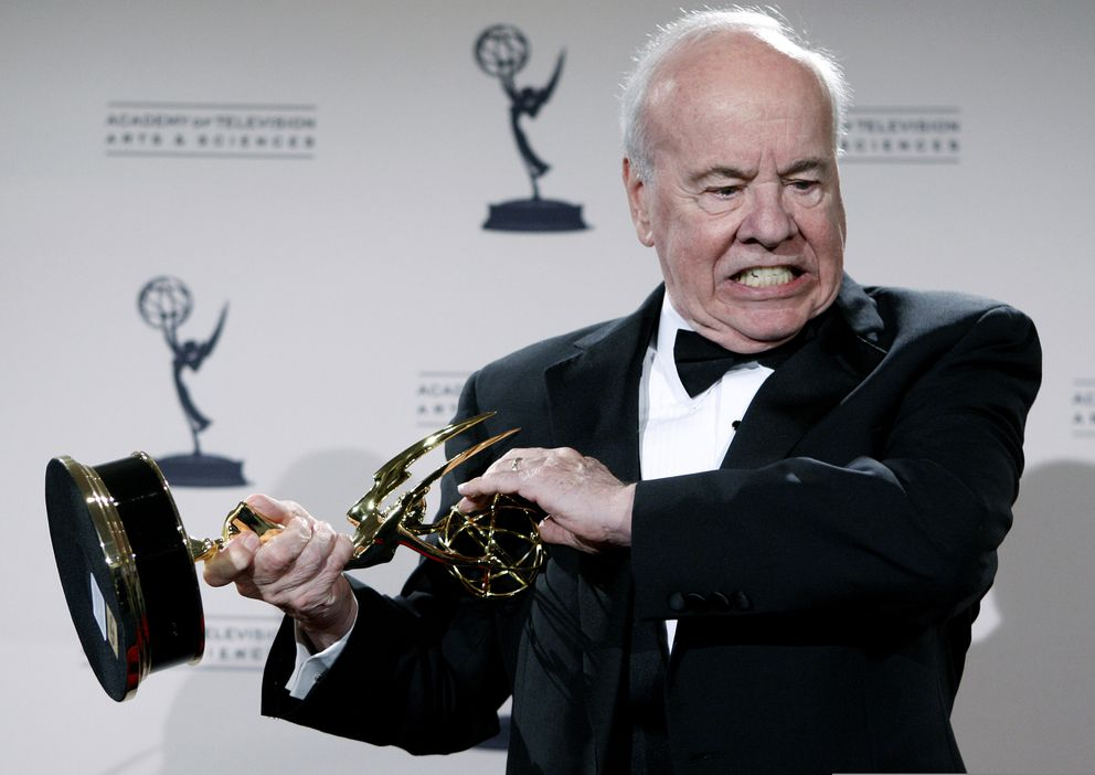 In this Sept. 13, 2008 photo, actor Tim Conway poses with his award for Outstanding Guest Actor in a Comedy Series for his work on '30 Rock ' in the press room at the Creative Arts Emmy Awards in Los Angeles. (AP Photo/Matt Sayles, File)