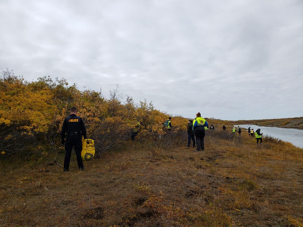 About 40 people spent more than three hours combing heavy brush around Nome Saturday, searching for Florence Okpealuk (Photo from the Federal Bureau of Investigation)