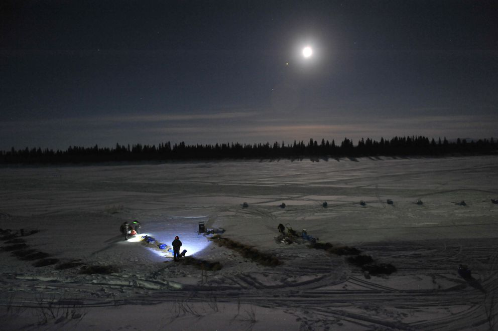 Mitch Seavey prepares to leave the White Mountain checkpoint in first place during the 2017 Iditarod. (Bob Hallinen / ADN)