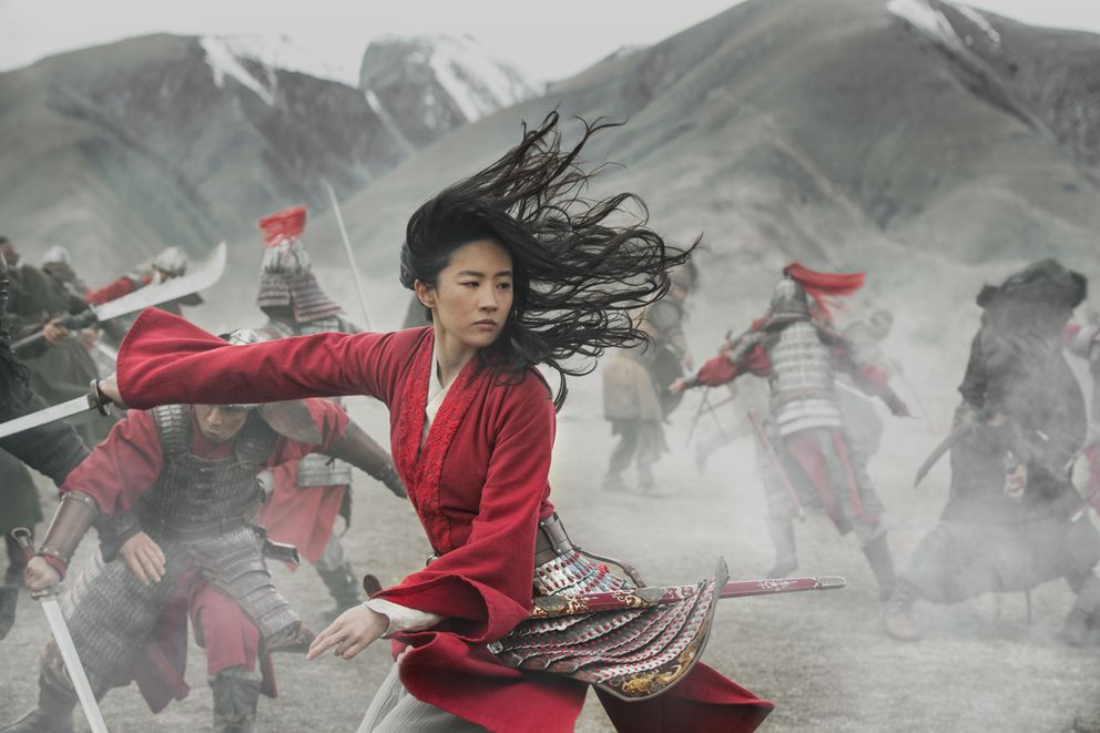 This image released by Disney shows Yifei Liu in the title role of 'Mulan. ' (Jasin Boland/Disney via AP)