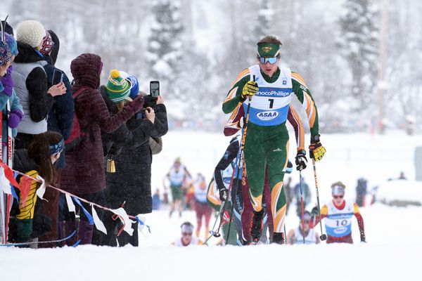 Service's Alexander Maurer leads a group of skiers up a hill during the boys 10-kilometer classic technique race at the ASAA/First National Bank Alaska State High School Nordic Skiing Championships on Friday, Feb. 21, 2020 at Kincaid Park in Anchorage. (Matt Tunseth / Chugiak-Eagle River Star)