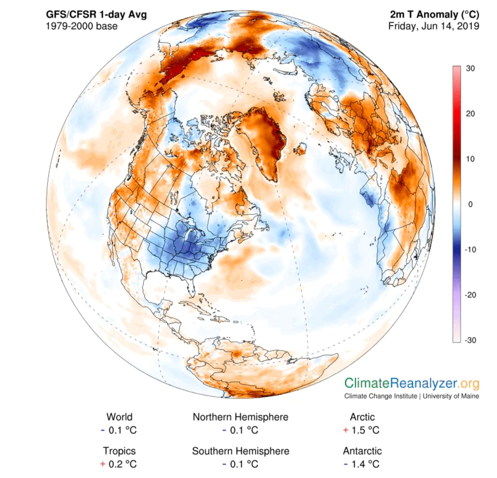 Temperature difference from normal on Friday, as analyzed by the Global Forecast System model. (University of Maine Climate Reanalyzer)