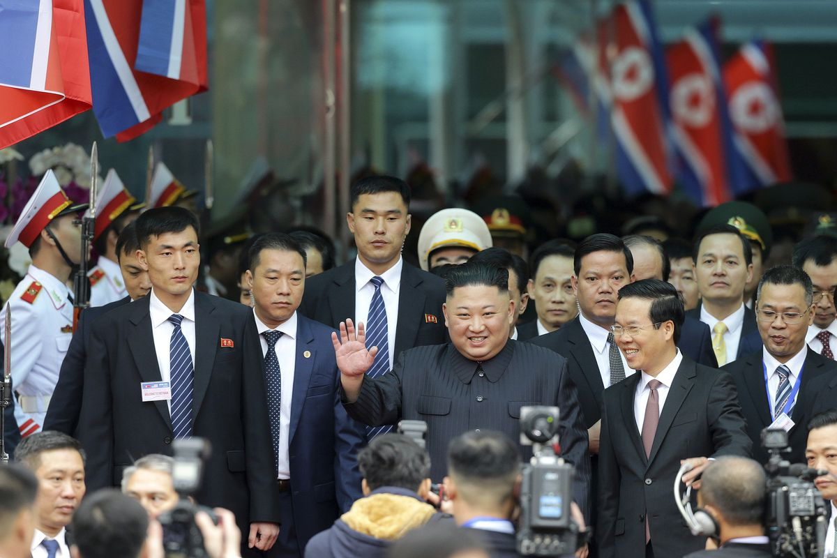 North Korean leader Kim Jong Un waves upon arrival by train in Dong Dang in Vietnamese border town Tuesday, Feb. 26, 2019, ahead of his second summit with U.S. President Donald Trump. (AP Photo/Minh Hoang)
