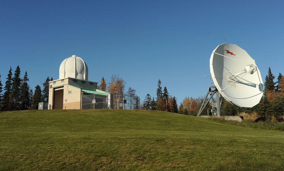 The weather balloon launch building with the telemetry equipment bubble on top sits on a small hill in back of the Anchorage Forecast Office of the National Weather Service in Anchorage on Friday, October 7, 2016. (Bob Hallinen / Alaska Dispatch News)